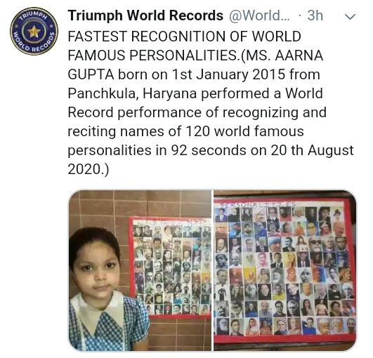 Aarna Gupta, UKG, sets World Record